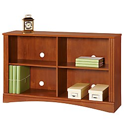 Realspace(R) Dawson 2-Shelf Sofa Bookcase, Brushed Maple - Mdf Maple Bookcase