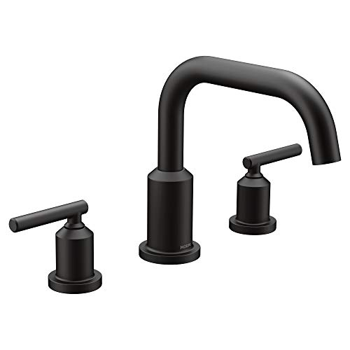 - Moen T961BL Gibson Two-Handle Deck Mounted Modern Roman Tub Faucet without Valve, Matte Black