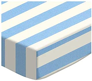 product image for SheetWorld Fitted 100% Cotton Percale Portable Mini Crib Sheet 24 x 38, Blue Stripe, Made in USA