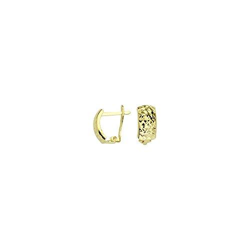 10k Yellow Gold Criss Cross Diamond-cut Clip Back Earrings by JewelryWeb