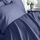 Egyptian Bedding 1000-Thread-Count Egyptian Cotton 1000TC Sheet Set, King, Navy Damask Stripe 1000 TC