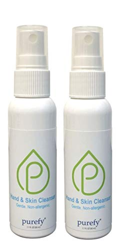 PUREFY Hand and Skin Cleanser (2pk) - Hypoallergenic, Antimicrobial, Alcohol Free, Baby Safe. Great for Sensitive Skin; Promotes Natural Defense Against Eczema, Dermatitis, Acne.(On The Go, 50mlx2)