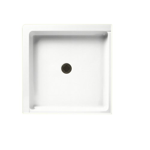 Swanstone SS-36DTF-011 Solid Surface Center Drain Shower Base, 36-in L X 36-in H X 5.5-in H, Tahiti White