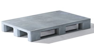 EURO-Kunststoffpalette - ohne Rand, Oberdeck geschlossen - grau ...