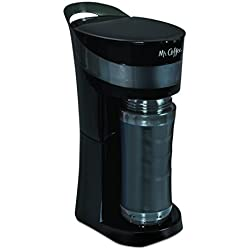 Mr. Coffee Pour! Brew! Go! 16-Ounce Personal Coffee Maker with Insulated TO-GO mug, Midnight Black, BVMC-MLBL