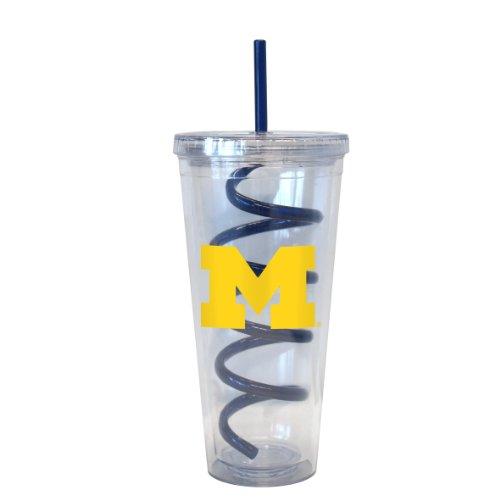 NCAA Michigan Wolverines Swirl Straw Tumbler, 22-Ounce
