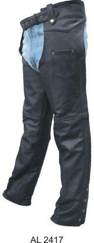 Unisex Basic Motorcycle Chaps Lined, Premium Buffalo Leather