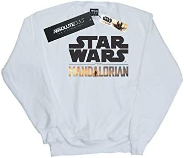 Star Wars Herren The Mandalorian Logo Sweatshirt Weiß Medium