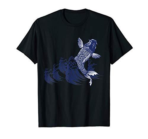 Japanese Art Koi Fishing Crappie Fish Royal Blue Ink Shirt