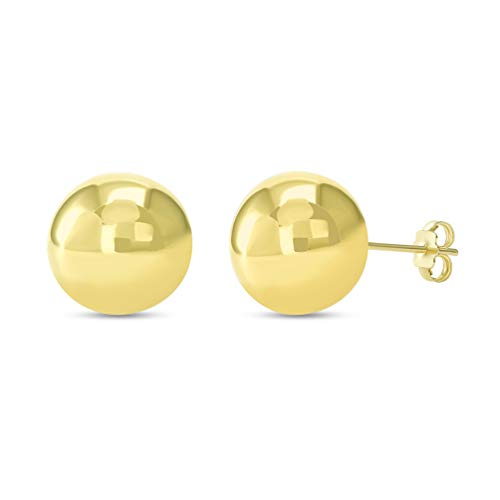 (14k Yellow Gold Round Ball Stud Earrings with Friction Back,)
