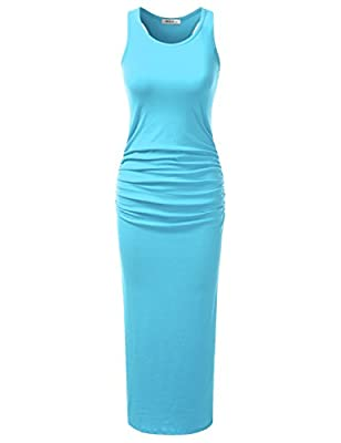 Doublju Stretchy Cotton Racerback Tank Maxi Dress For Women With Plus size (Made In USA)