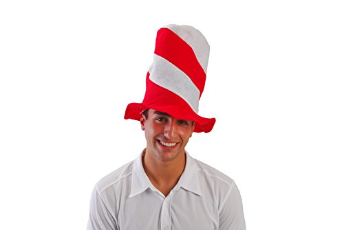 Red and White Striped Stove Pipe Hat (Red And White Striped Felt Hat)
