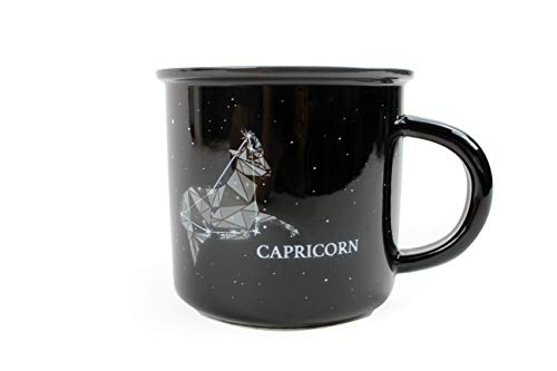 Stargazer CAPRICORN Astrology Camp Mugs by Creature Cups | Ceramic Horoscope 13.5 Ounce Cups with Traits Revealed Inside | Birthday Constellation Signs | Coffee Mugs | Tea cups