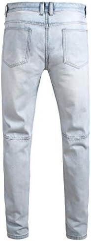 メンズカジュアルデニムストレートホールジーンズマルチボタンズボンロングパンツ