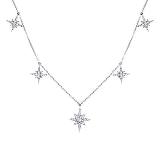 Prism Jewel Beautiful 0.43 Carat G-H/SI1 Round Cut Natural Diamond Star Charm Necklace, 14k White Gold