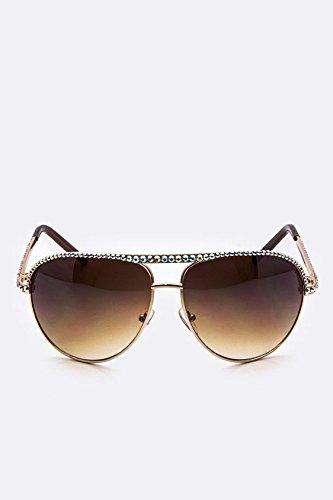 Karmas Canvas Crystal Ornate Aviator Sunglasses - New York Sunglasses Wholesale