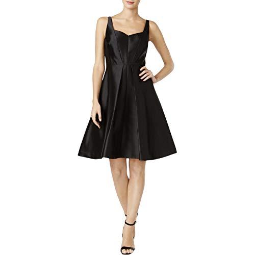(Calvin Klein Womens Satin Pleated Cocktail Dress Black)
