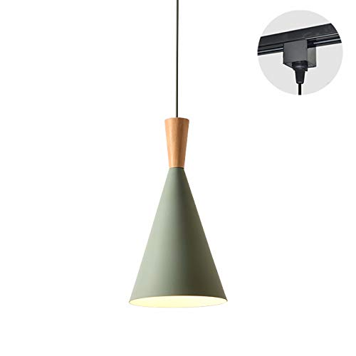 ANYE H-Type Track Light Black Adapter Pendants 3.2ft Cord Green Shade Light Wooden Light Socket Cafe Lights Loft Style Simple Metal Ceiling Lamp for Dining Room Cafe Restaurant Bulbs Not Included