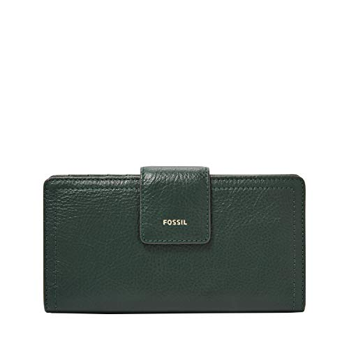 Fossil Women's Logan Leather Tab Wallet, Spruce