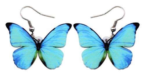 (SAE99 Alloy Menelaus Blue Morpho Butterfly Drop Earrings)