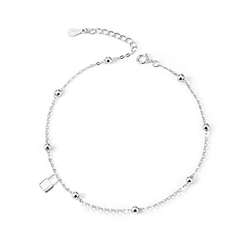 (LINGBG S925 Sterling Silver Cable Chain Anklets for Women Girls 18K White Gold Plated Lock Love Adjustable Beach Style Foot Ankle Mother's Day Jewelry Gifts)