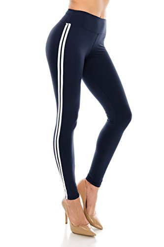 Blue And White Striped Leggings (ALWAYS Women Solid Basic Soft Stretch Striped Leggings Navy White)