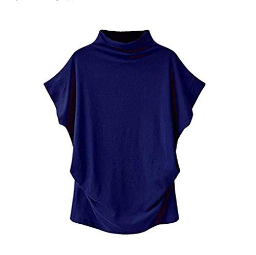 VLDO Sweatshirts for Women Casual Loose Linen Soild Lace Splice Button Short Sleeve Tops (L, Blue)