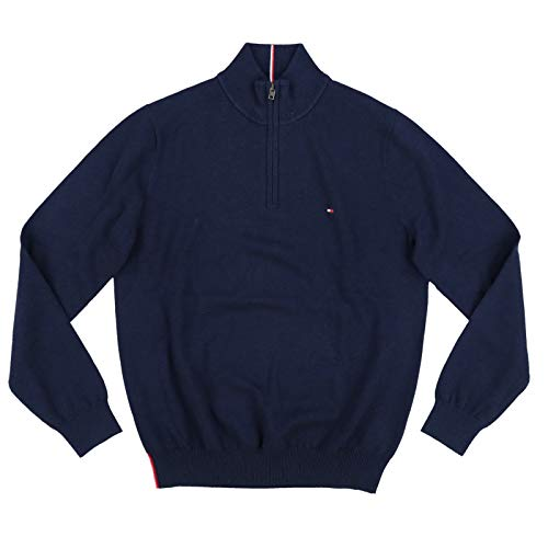 - Tommy Hilfiger Mens 1/4 Zip Mock Neck Sweater (XX-Large, Navy Blue)