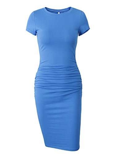 Missufe Women's Ruched Casual Sundress Midi Bodycon Sheath Dress (Large/X-Large, (Blue Sundress Dress)