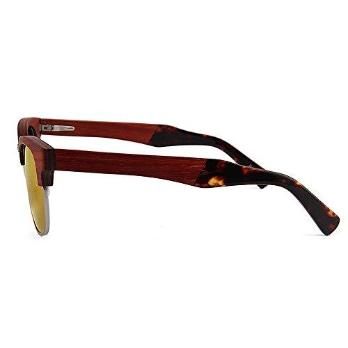 soleil soleil conduite Semi Style de lunettes UV soleil bois polarisées femmes haute de Rimless de lunettes de protection à la lunettes élégant en lunettes plage main qualité de soleil unisexe Rouge rétro P wFnq0gFtrA