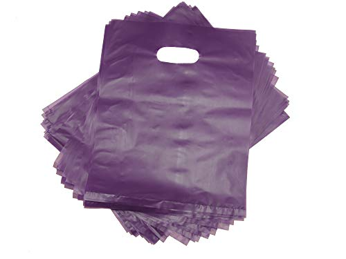 100 Purple Merchandise Bags, Shopping Bags, 12