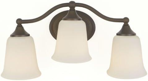 Feiss VS10503-ORB Claridge Glass Wall Vanity Bath Lighting, Bronze, 3-Light 18 W x 9 H 300watts