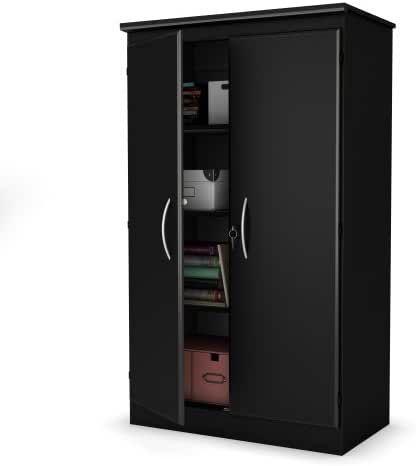 South Shore Tall 2-Door Storage Cabinet with Adjustable Shelves, Solid Black