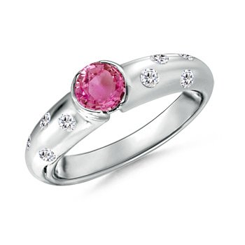 Angara Round Pink Sapphire Solitaire Ring in 14K Rose Gold 58PrVp