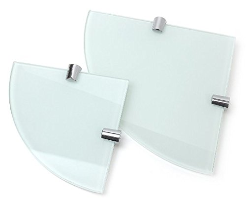 Eckregale, weiß 6mm gehärtetem Glas–2Einlegeböden–150mm und 200mm BSM Marketing