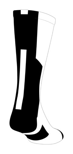 TCK Player Id White/Black Number Crew Sock (Blank - Single Sock, Medium)
