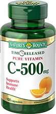Nature's Bounty Vitamin C, 500mg, Time Release, 100 Capsules (Pack of 2)