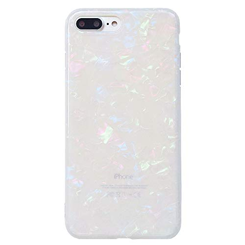 iPhone 7 Plus / iPhone 8 Plus Case for Girls, Glitter Pearly-lustre Translucent Shell Pattern Phone Case [Flexible Soft, Slim Fit, Full Protective] for iPhone 7Plus / iPhone 8Plus 5.5 ()