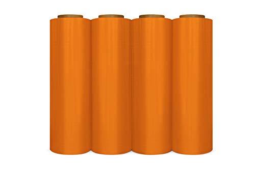 Orange Color Hand Bundling Stretch Wrap Film 18 Inch x 63 Gauge x 1500 Feet 4 Rolls/Cs