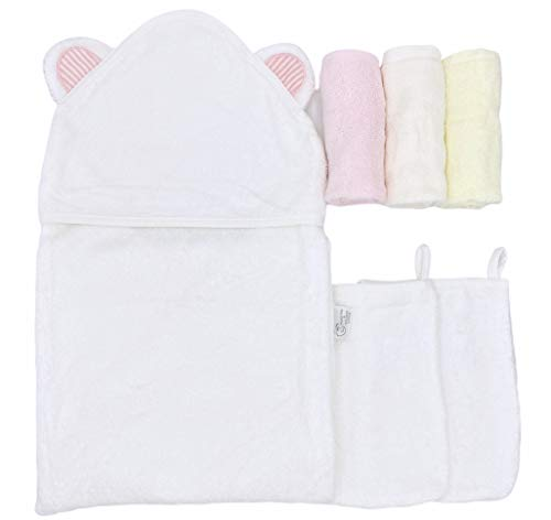 Organic Bamboo Hooded Baby Towel - Super Soft, Absorbent Baby Towels and Washcloths for Infant and Toddler - Large Baby Bath Towel for Boys and Girls (Pink Ears)
