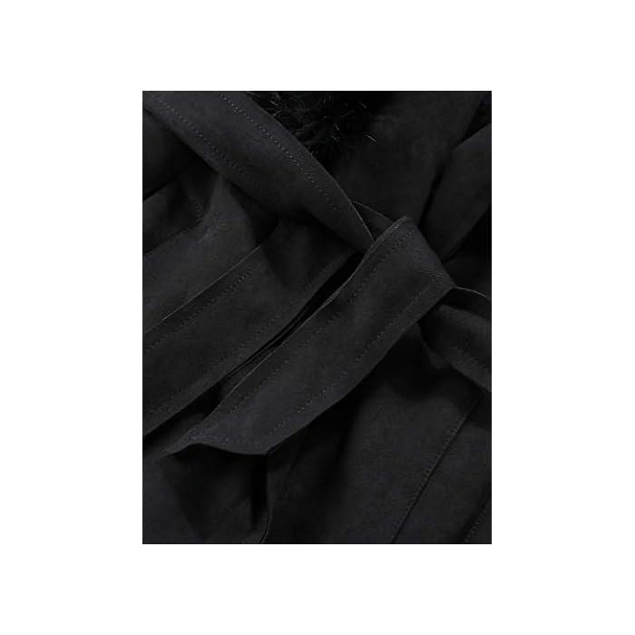 31Lap%2BtiSrL Gabardinas para mujer, totalmente forradas de piel sintética, carcasa de gamuza sintética, mangas largas, cierre de cinturón, traje para diario, fiesta, escuela, trabajo, compras, calle, citas, cálido y encantador El ribete de piel sintética desmontable es suave y fácil de conectar y quitar. La tela de gamuza sintética tiene cuatro lados de elasticidad y se ajustará mejor a ella. La cubierta de gamuza suave puede mantenerte abrigado y acogedor en invierno y otoño. Un cinturón en el dobladillo completa el look elegante. Poliéster