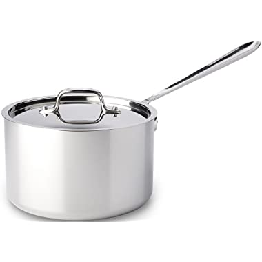All-Clad 4204 Stainless Steel Tri-Ply Dishwasher Safe Sauce Pan with Lid / Cookware, 4-Quart, Silver