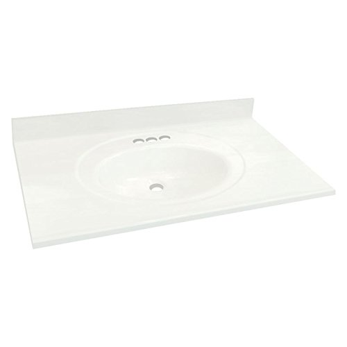 Cultured Marble Bathroom - Transolid 1409-7920 49-in x 22-in Cultured Marble Bathroom Vanity Top in White
