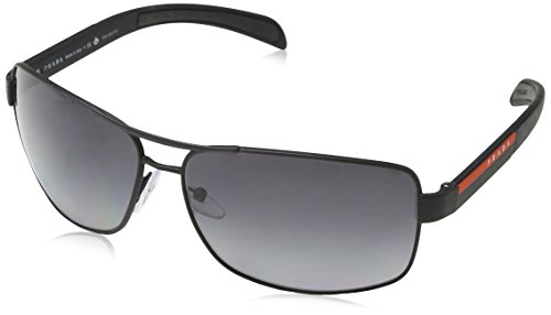 Prada Linea Rossa Men's 0PS 54IS Black Rubber/Grey - Rectangular Prada Sunglasses