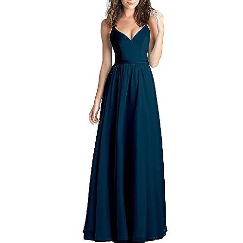 Kevins Bridal Chiffon V-Neck Long Prom Dresses Spaghetti Straps Bridesmaid Dress Teal Size 2