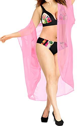 LA LEELA Women's Mini Casual Kimono Cardigan Beach Cover Up US 16-28W Pink_O982