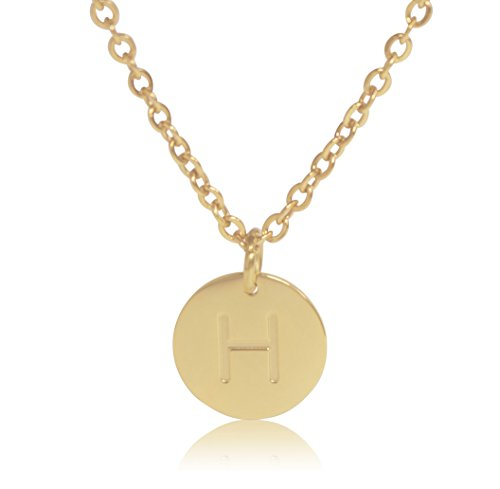 "(18K Gold-Plated Round Disc Engraved Initial Pendant 18"" Adjustable Necklace with Personalized Alphabet Letter (H))"