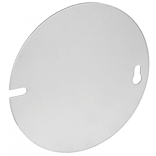Exposed Blank (5 Pcs, 4 In. Round Blank Cover, Flat, Zinc Plated Steel to Cover Or Terminate Exposed Electrical Wire)