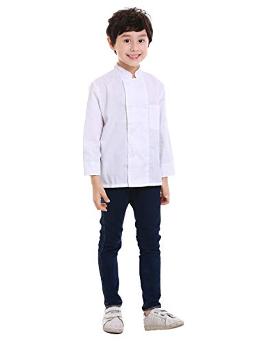 TOPTIE Kid's Chef Coat for Cooker Uniform Halloween Costume, White -