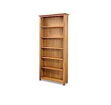 super popular d5941 09233 Vintage Home Tall Oak Bookcase Solid Wood Furniture Rustic Shelving Unit  Large Wooden Display Cabinet Chunky Brown Corner Bookshelf 6 Tier Shelves  ...